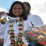 Sprinter Dutee Chand, a student of School of Law, KIIT University, was given a rousing welcome upon her arrival in KIIT and KISS. She won two gold medalsin 53rd National Open Athletics Championships at Ranchi.