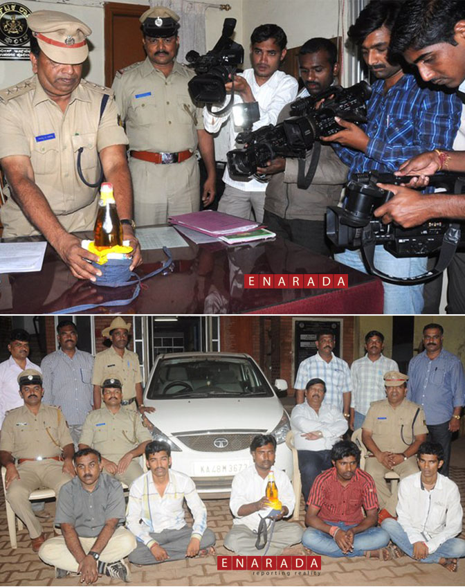 Top: Senior Police Officers displaying their prized catch. Below: All the Five arrested in this case sitting in front of the car used for transporting the poison.