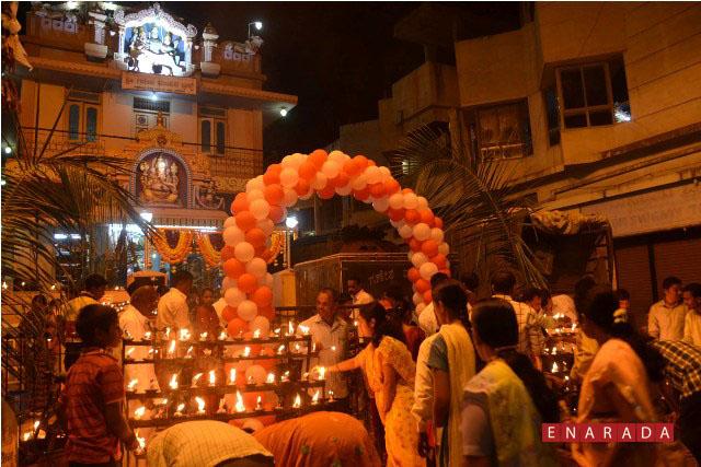 Devotees lighting the lamps , as part of Deepotsave seva at Ganesh temple at Akkihonda in Hubli, today