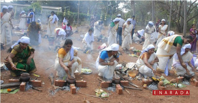 Women Devotees in Mysore preparing 'Pongala' near Rajarajeshwari temple in south Mysore, as part of Pongala Mahotsava festival on February 16