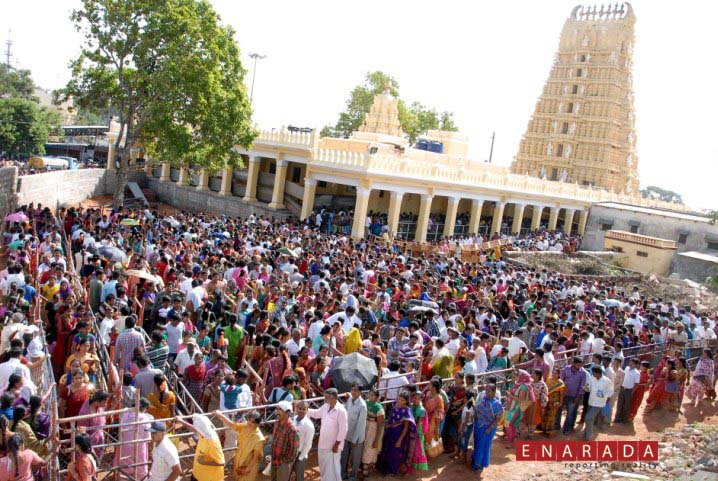 Devotees from different parts of the state waiting in serpentine queue to enter into temple.