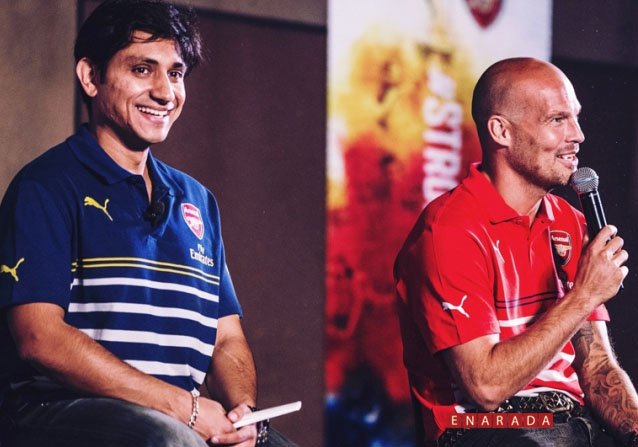Arsenal legend, footballer Freddie Ljungberg  (Right) in a tete-a-tete with Rajiv Mehta, MD PUMA India at the official PUMA Arsenal Kit launch in India