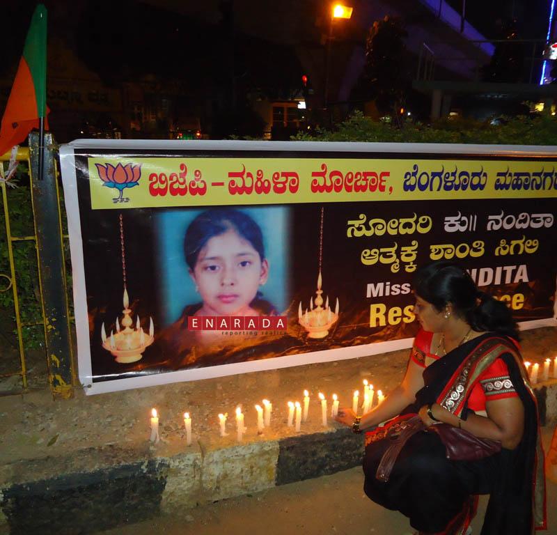 BJP protests against death case of Nandita, 6-11-2014, enarada.c
