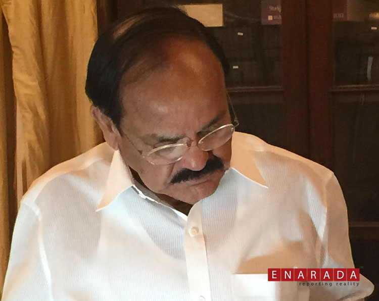 Venkaiah Naidu in a press meet at Bengaluru on Sep 20, 2105. Ph: