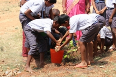 The students whose adrenaline had reached a new height, took the gardening equipments to a nearby field and planted saplings.