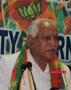 BS Yeddyurappa addressing first press meet after he took charge of president of BJP karnataka unit, on 8-4-2016. Photo by Enarada.com
