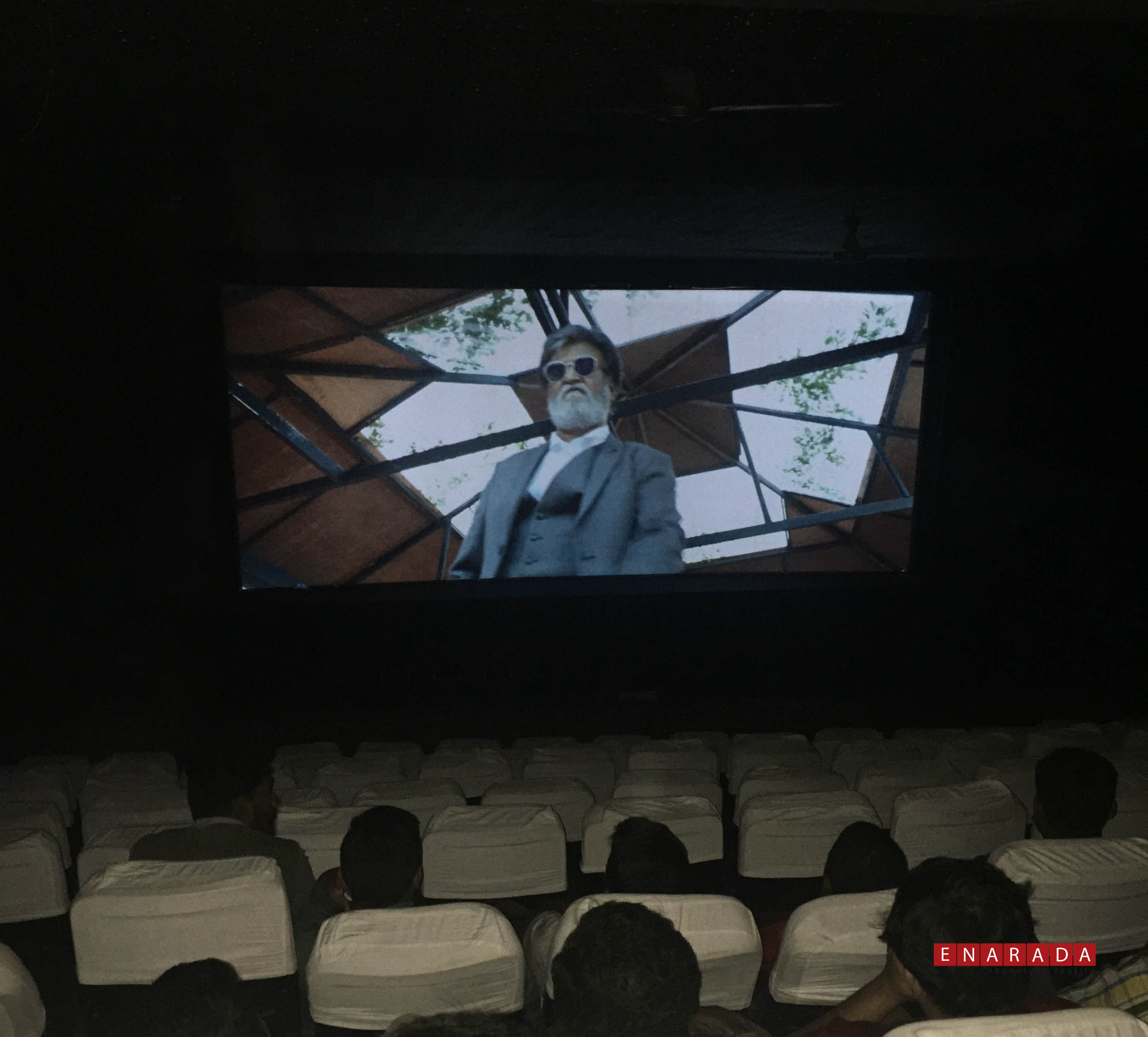 Empty seats at 'Kabali' Movie on 2nd day at Anjan Theatre, Magadi Road. Photo by Enarada.com