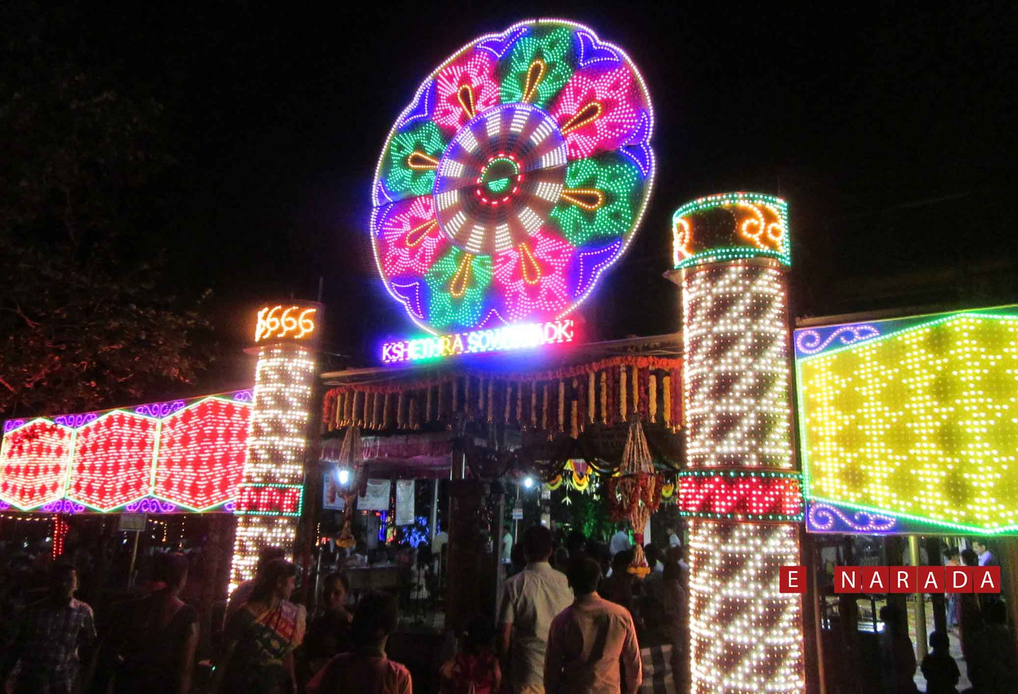 The Sowthadka temple wears a festive look with decorative lighting