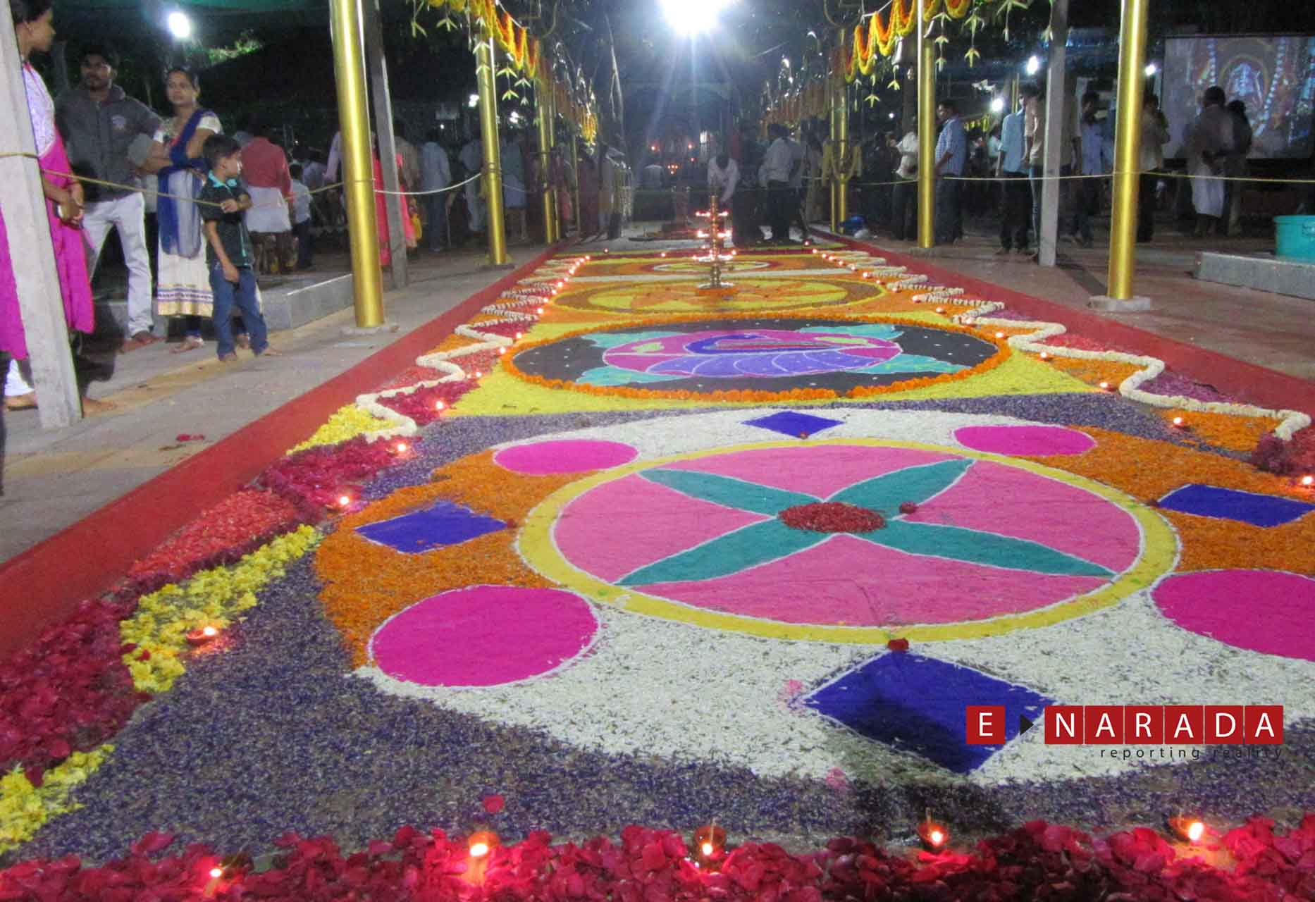 Designer rangolis are another major draw at Sowthadka temple.