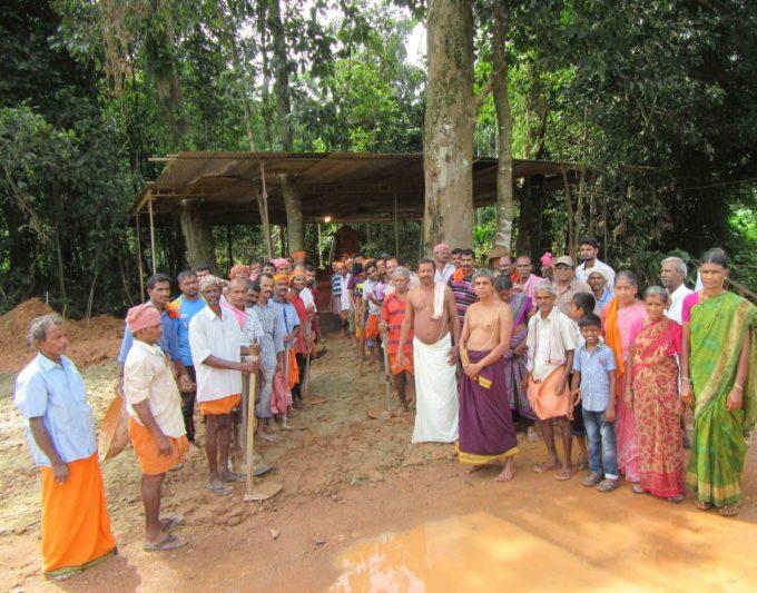 Villagers help the restoration of  Serpent Shrine at Kokkada Vaidyanatheshwara temple